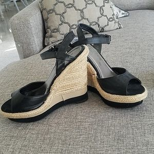 Black Wedges with Ankle Strap